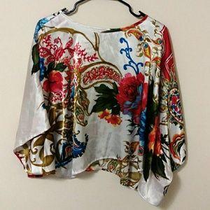 Moa Moa cold shoulder paisley floral poncho blouse